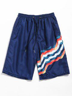 Drawstring Wavy Line Print Beach Shorts - Deep Blue Xl