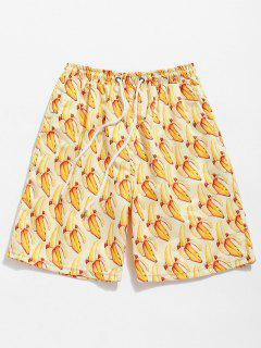 Bananas Print Drawstring Board Shorts - Sun Yellow Xl