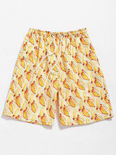 Bananas Print Drawstring Board Shorts - Sun Yellow S