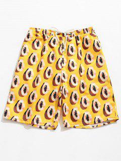 Pantalones Cortos Con Estampado De Papaya De Bolsillo - Amarillo S