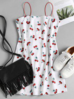 Cherry Print Apron Cami Sundress - White L