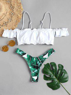Lettuce Off The Shoulder Bikini Set - Medium Forest Green M