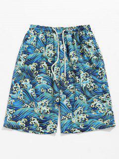 Ocean Waves Printed Board Shorts - Windows Blue M
