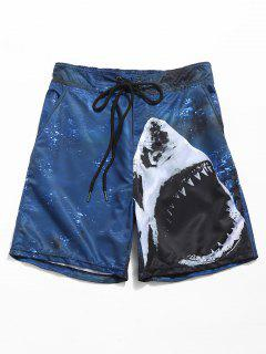 Ocean Shark Print Board Shorts - Deep Blue M