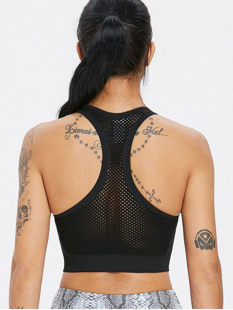 affordable Stretch Knit Mesh Seamless Sports Bra - BLACK S Mobile