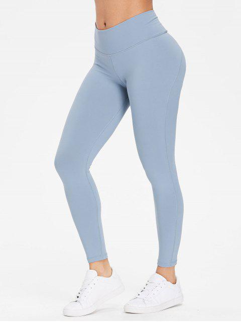fancy Performance Sports Leggings - CORNFLOWER BLUE L Mobile