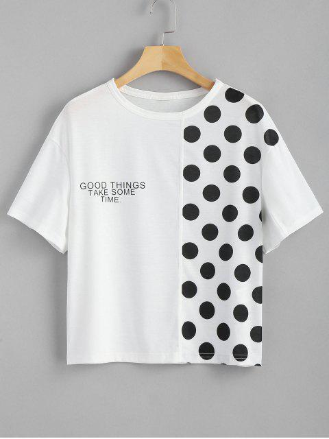 affordable Dotted Letter Panel T Shirt - WHITE S Mobile