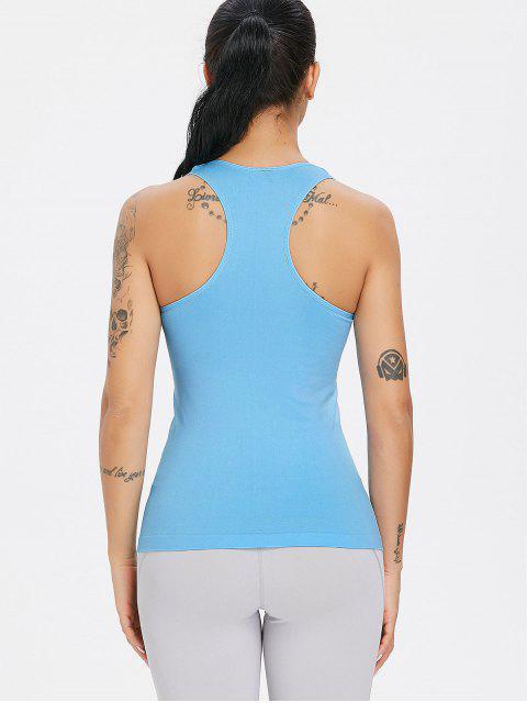 Camiseta sin mangas Racerback Gym sin costuras - Cielo Azul Oscuro Talla única Mobile