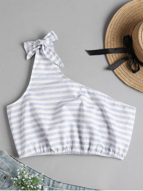 buy One Shoulder Striped Crop Top - JEANS BLUE L Mobile