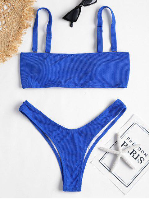 chic Ribbed Bandeau Bikini Set - SAPPHIRE BLUE S Mobile