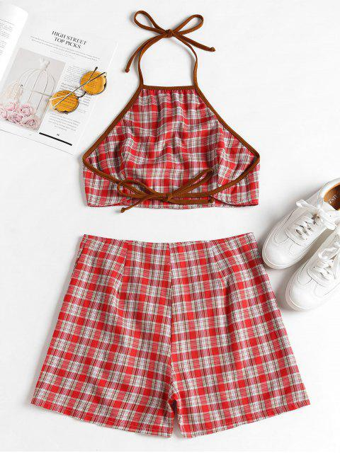 chic Knotted Plaid Top and Shorts Set - RED L Mobile