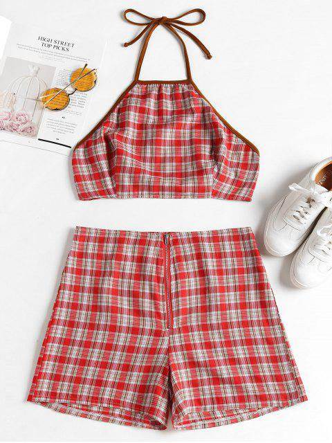 Knoten Kariertes Top Und Shorts Set - Rot L Mobile