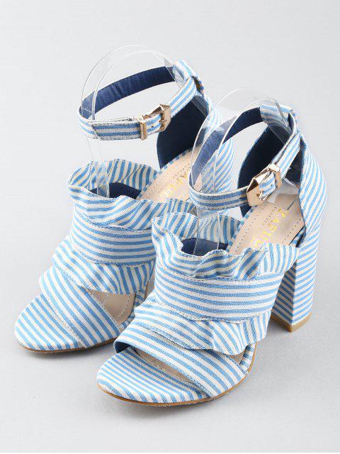 sale Ankle Strap Ruffles Striped Block Heel Sandals - SEA BLUE 37 Mobile
