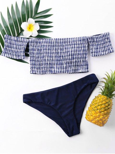 Schulterfrei Gingham Smocked Bikini - Blaubeere S Mobile