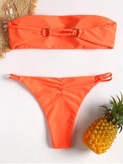 Bandeau Tube String Bikini - Dunkles Orange L Mobile