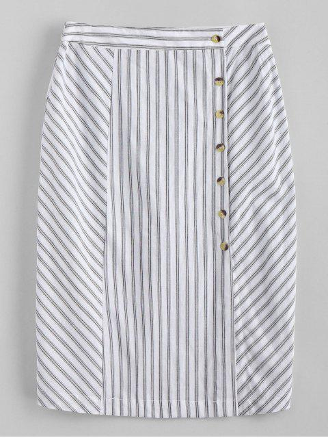 buy Side Button Stripes Midi Skirt - WHITE M Mobile