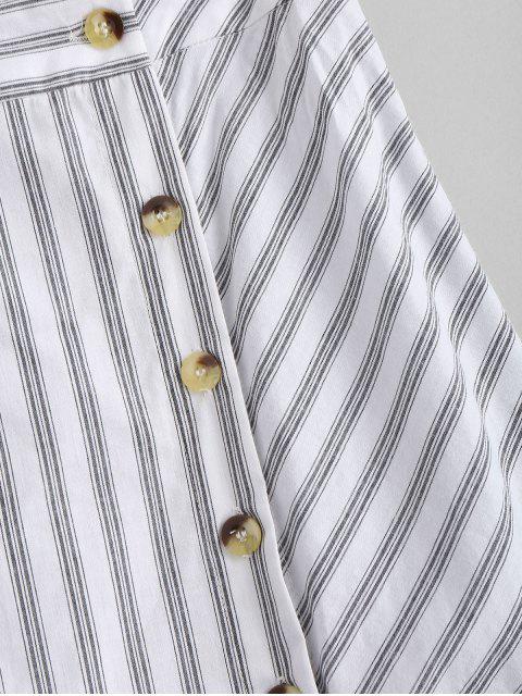 buy Side Button Stripes Midi Skirt - WHITE M Mobile