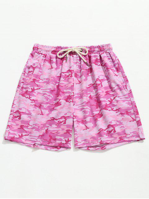 online Camouflage Cargo Pocket Beach Shorts - HOT PINK XL Mobile