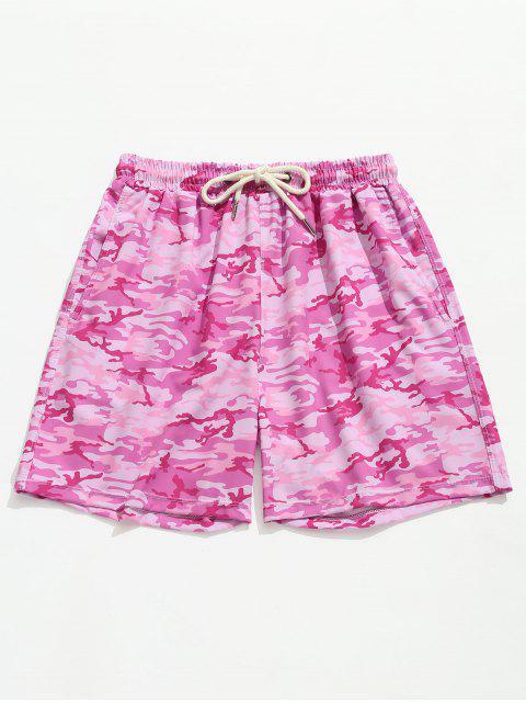 Pantalones cortos de playa de bolsillo de camuflaje de carga - Rosa Brillante XL Mobile