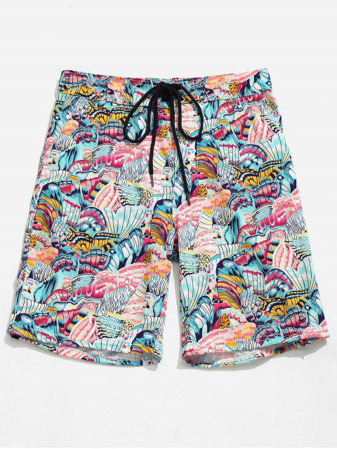 fashion Pocket Butterfly Printed Board Shorts - PINK DAISY XL Mobile