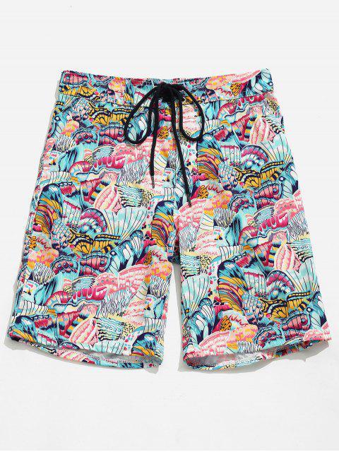 Shorts estampados con estampado de mariposa de bolsillo - Margaritas Rosas XL Mobile