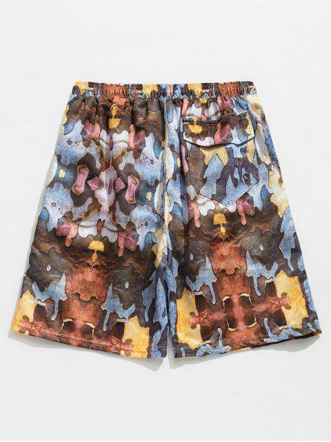 lady Print Elastic Drawstring Waist Pockets Beach Shorts - LIGHT BROWN S Mobile