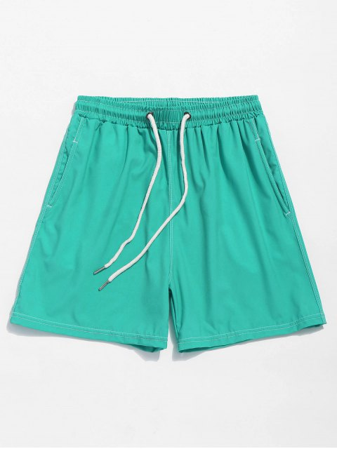 online Solid Color Elastic Wasit Beach Shorts - MACAW BLUE GREEN XL Mobile