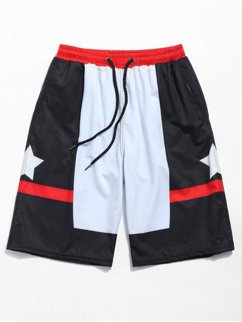 shop Start Printed Color Block Board Shorts - BLACK M Mobile