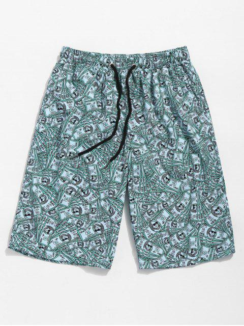 trendy US Dollars Print Board Shorts - BEETLE GREEN M Mobile