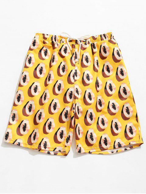chic Pocket Papayas Print Board Shorts - YELLOW XL Mobile