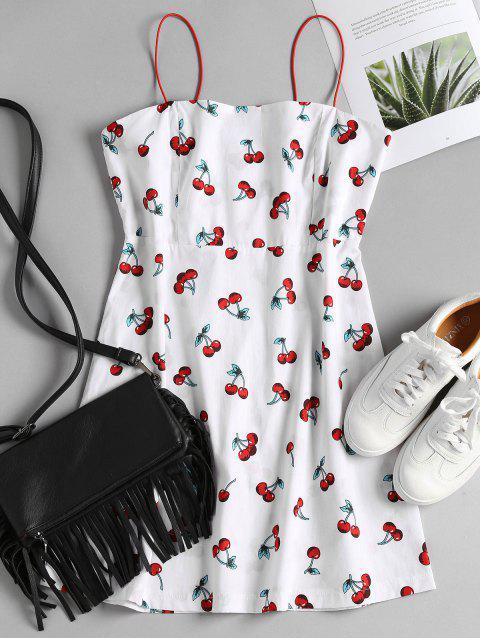 Robe D'été Tablier à Imprimé Cerise - Blanc S Mobile