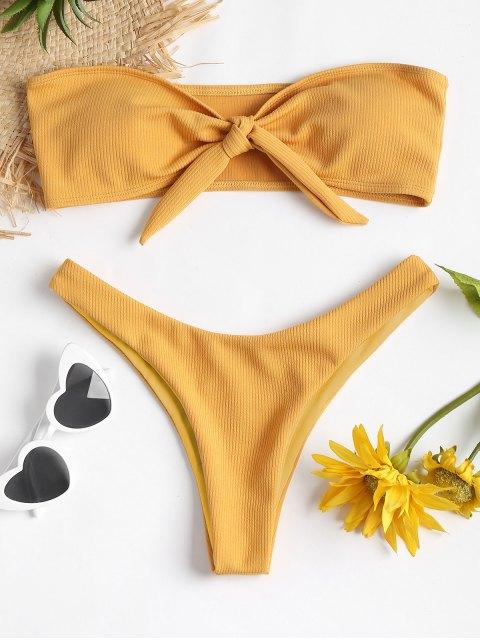 outfit ZAFUL Bowknot Rib Bandeau Bikini Set - GOLDEN BROWN S Mobile
