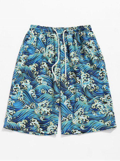 hot Ocean Waves Printed Board Shorts - WINDOWS BLUE M Mobile