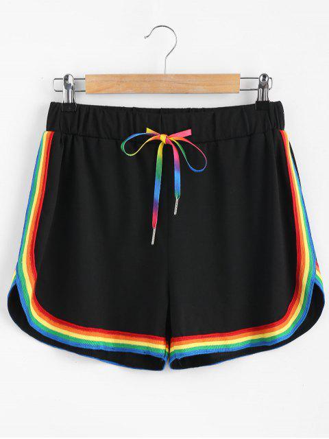 Pantalones cortos deportivos rayas de colores - Negro L Mobile