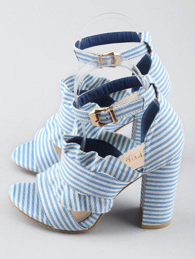Sandálias de Salto com Tiras no Tornozelo - Azul Marinho 39