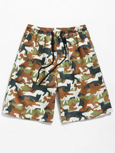 453e43f70db6e Drawstring Camo Print Pockets Beach Shorts - Camouflage Green S