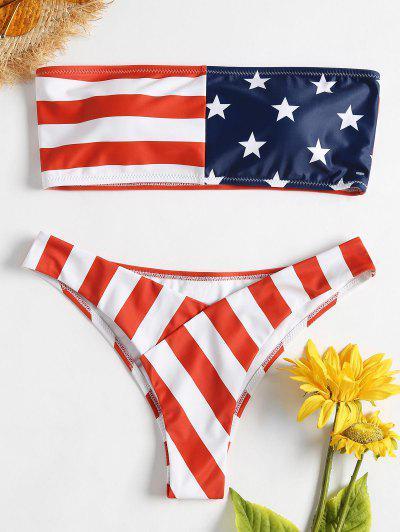 American Flag Tube Bikini - Love Red S