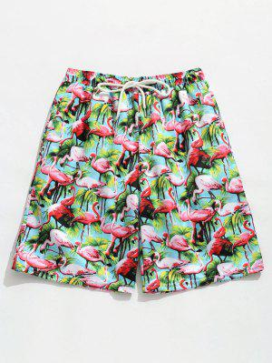 Elastische Tunnelzug Flamingo Druck Strand Shorts