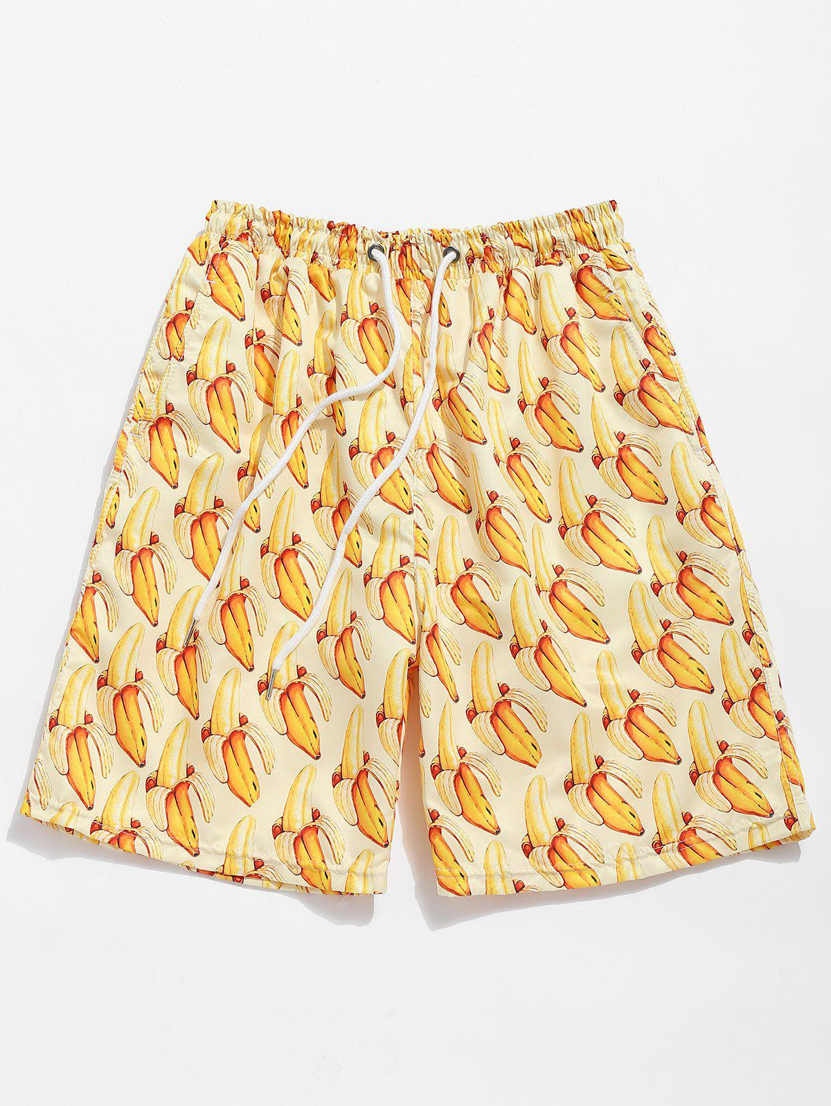 Bananas Print Drawstring Board Shorts