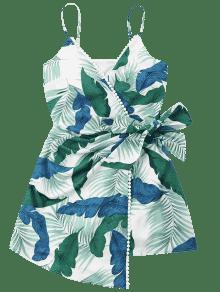Verde Estampado Superpuesto Con De S Mar Hojas Vestido De Ligero qHXfxfP