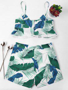 Conjunto De Estampado De Pantalones De Con Ligero Cortos De Cami Hojas Verde L Mar SXqwZfqr