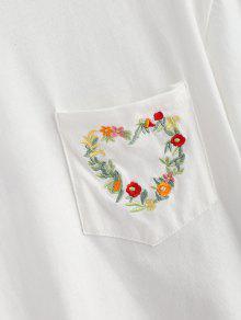 Camiseta Blanco Floral Bolsillo Con Bordada 2xl rxHPwngfrq
