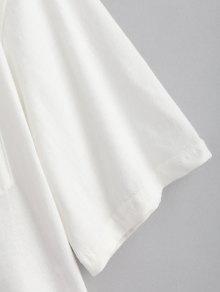 Blanco Bolsillo Floral 2xl Camiseta Con Bordada qPBOO0