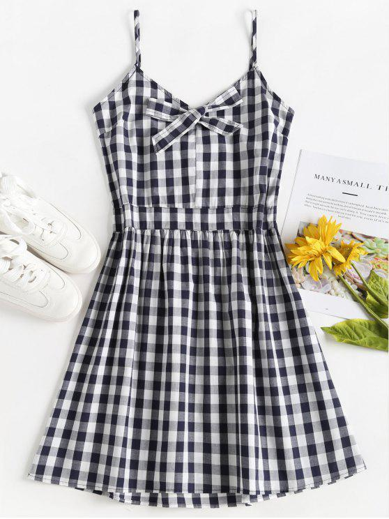 Gingham Cami A Line Sun Dress - Multi Colori S