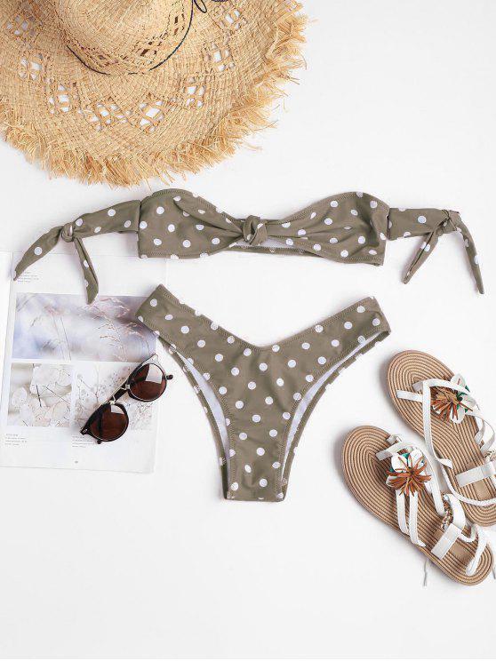 women Polka Dot Knot Bralette Bikini - LIGHT KHAKI S