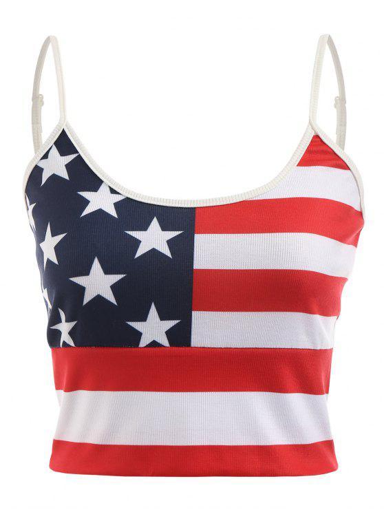 trendy American Flag Cami Crop Top - MULTI M