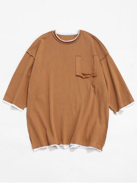 outfit Panel Drop Shoulder Cotton T-shirt - BROWN M