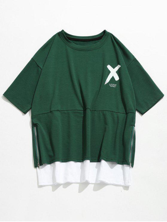 T-shirt Lettre à Glissière Latérale Streetwear - Vert Forêt Moyen XL