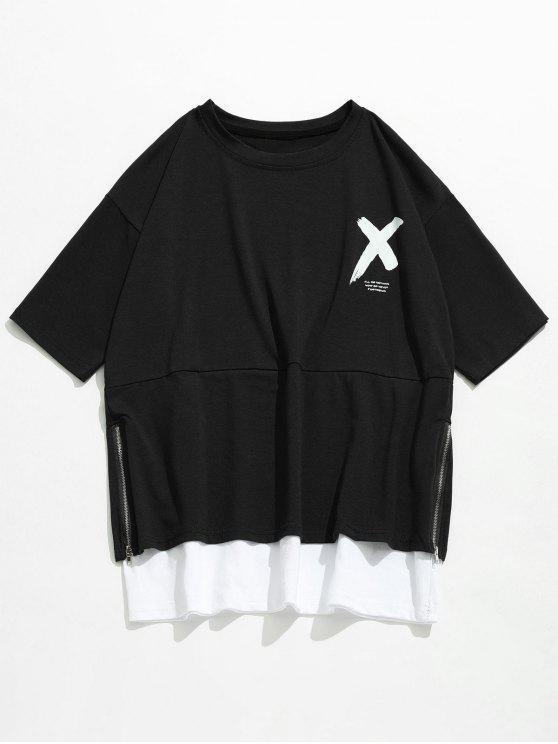 T-shirt Lettre à Glissière Latérale Streetwear - Noir 2XL