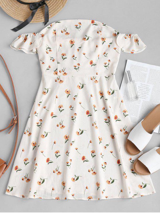 Hors de l'épaule Floral A Line Dress - Blanc Chaud M